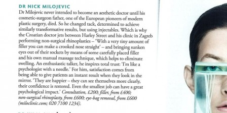Tatler magazine reinstated Dr Milojevic to the list of best aesthetic doctors